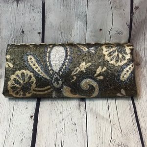Vintage Clutch Gold Tan and Gray
